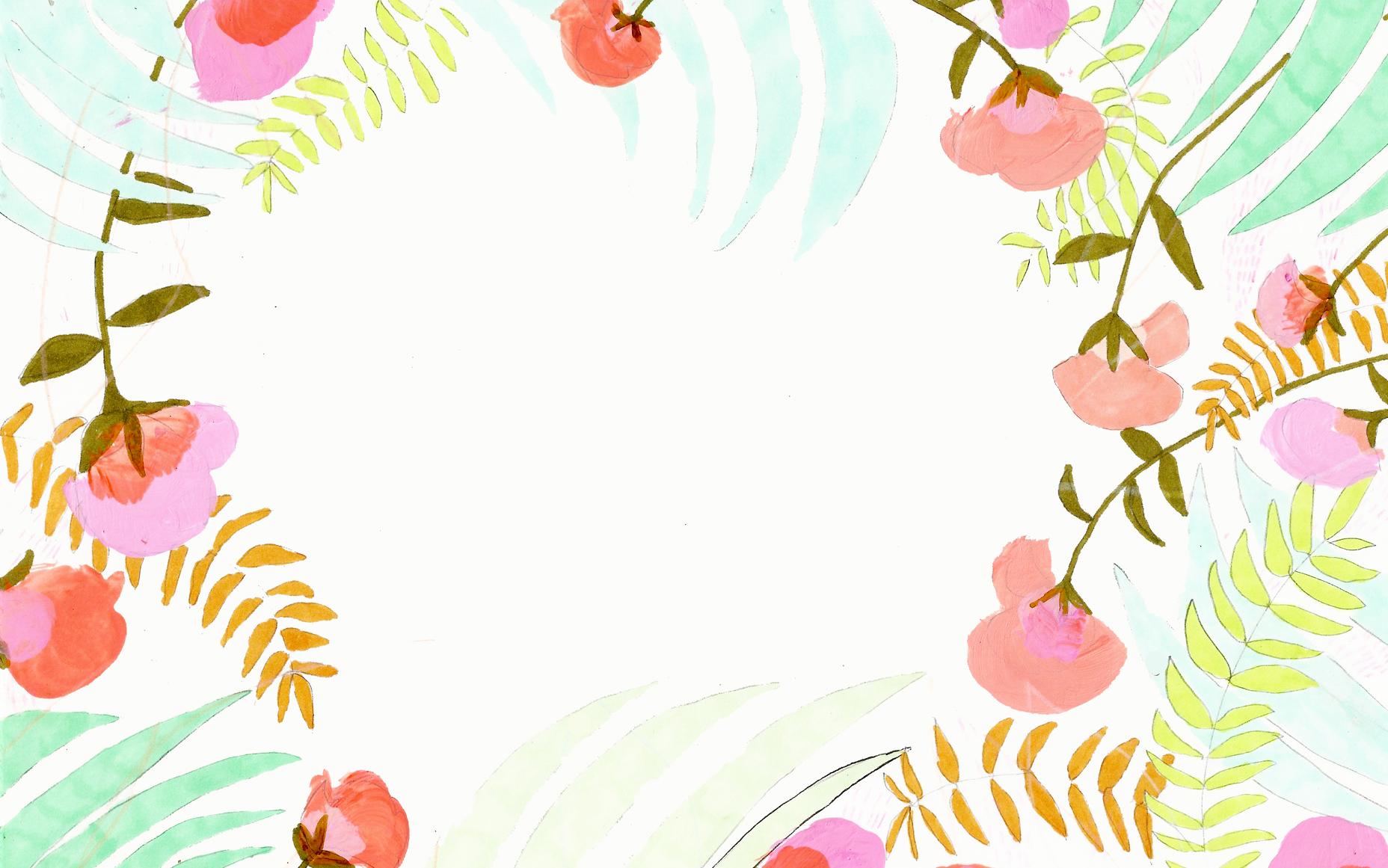 painted flower background felt